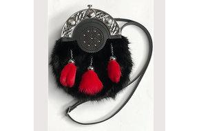 Sporran/Purse: Dress, Embossed, Studded, Red Tassels, Blk