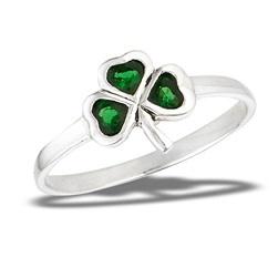 Ring: Shamrock w/Sim Emerald, SS