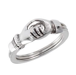 Ring: Hands 'n' Heart, Gimmel, Tri-ring, SS