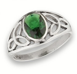 Ring: Green CZ, Signet, Trinity, Open, SS