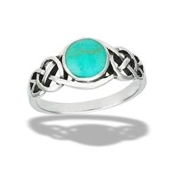 Ring: SS Celtic knot turquoise