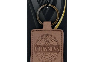 Guinness: Keyring, Brown Leather