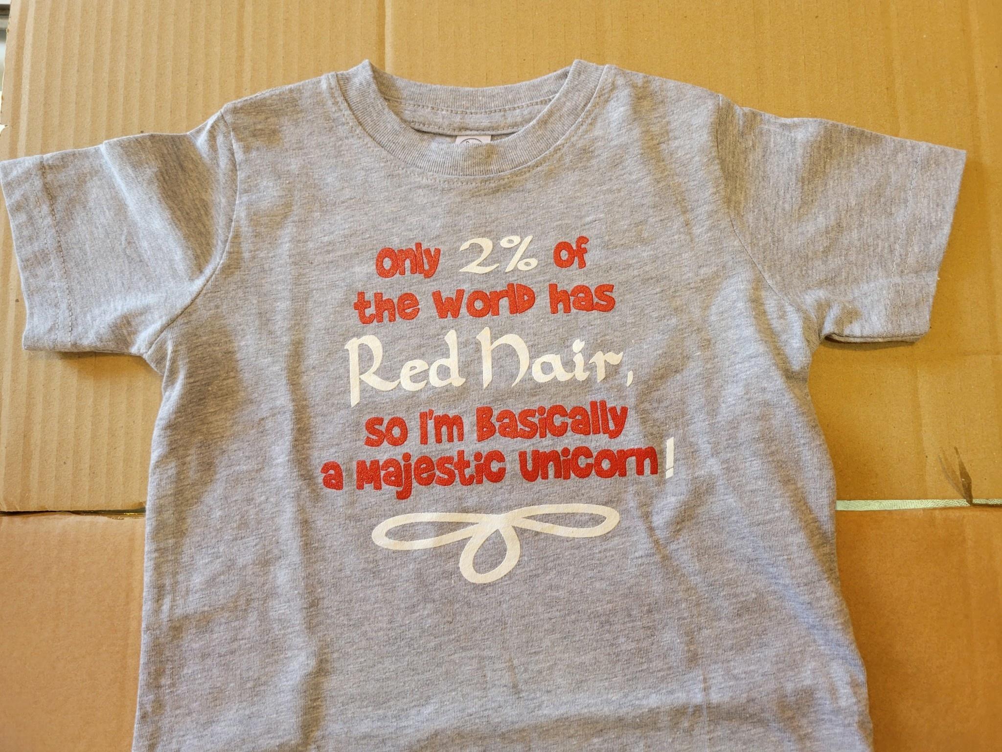 T Shirt: Kids 2% Gray Unicorn