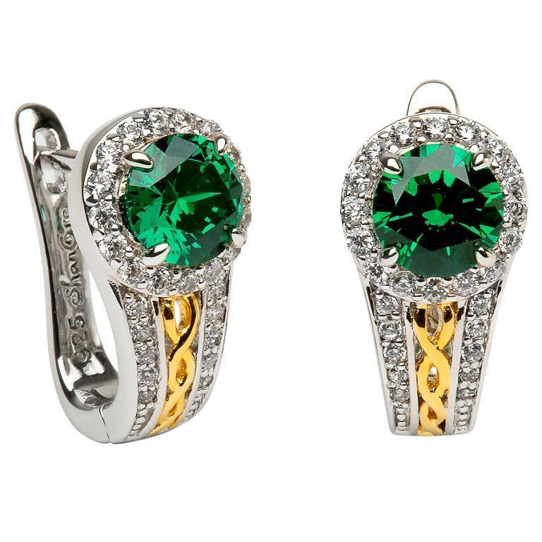 Shanore Earring: SS Round Halo Green CZ