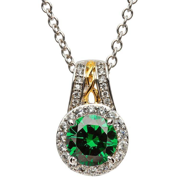 Shanore Pendant: SS Round Halo Green CZ