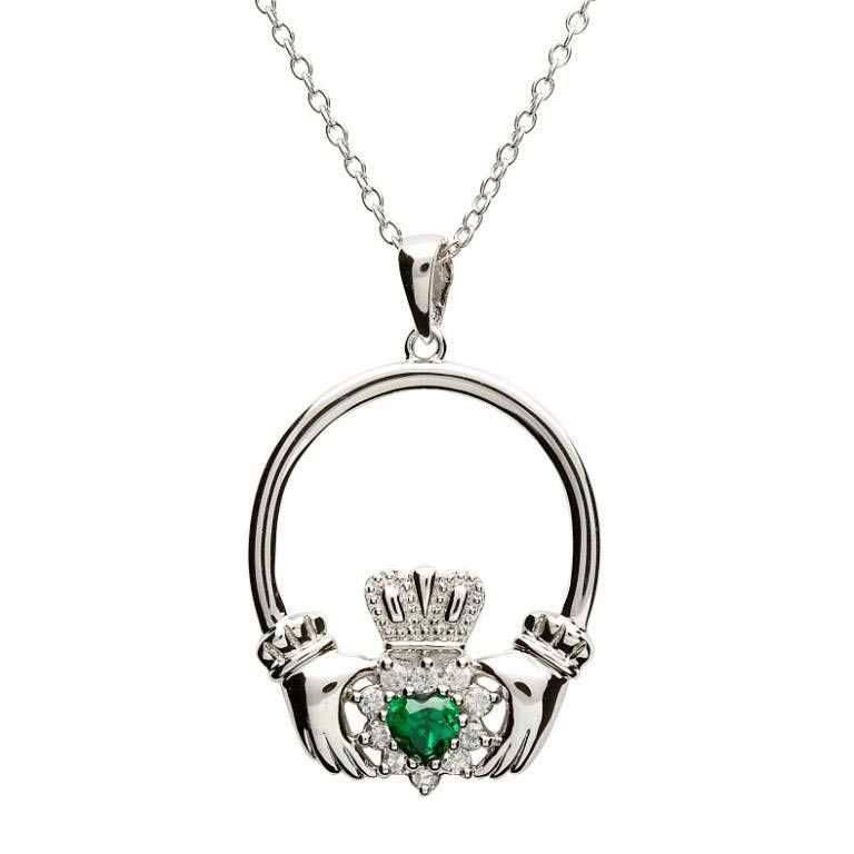 Shanore Pendant: SS CZ Green Claddagh