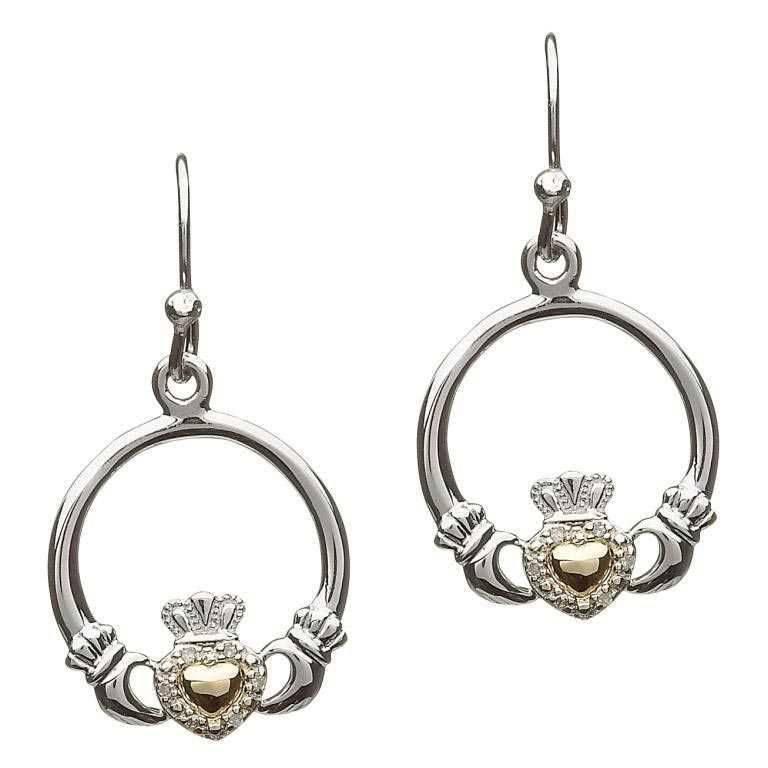 Earring: Diamond 10K Claddagh Heart