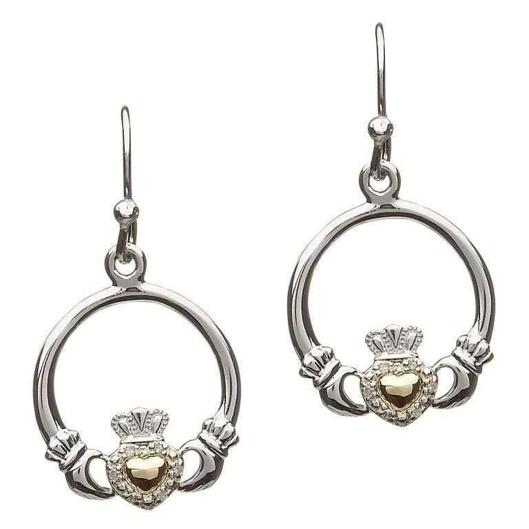 Shanore Earring: Diamond 10K Claddagh Heart
