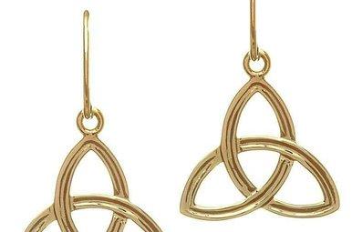 Earring: 10K Gold Trinity Drop