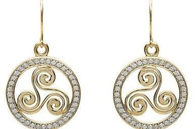 Earring: 10K Gold CZ Triskal