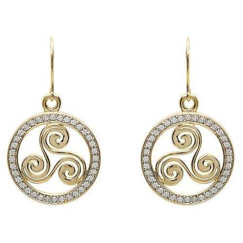 Shanore Earring: 10K Gold CZ Triskal