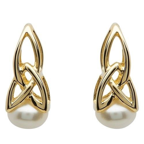 Shanore Earring: 10k Gold Pearl Trinity