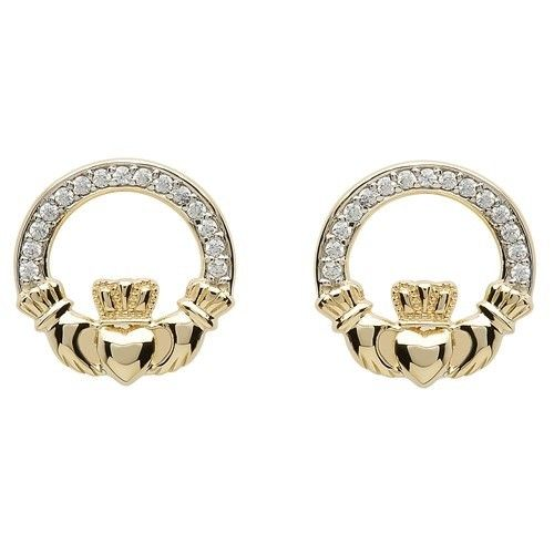 Shanore Earring: 10k CZ Claddagh Stud