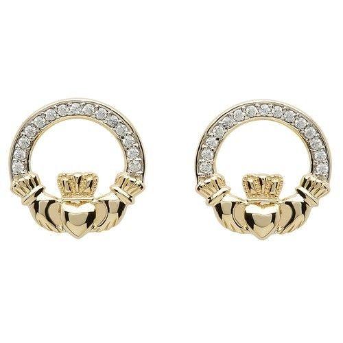 Shanore Earring: 10k CZ Claddagh Stud