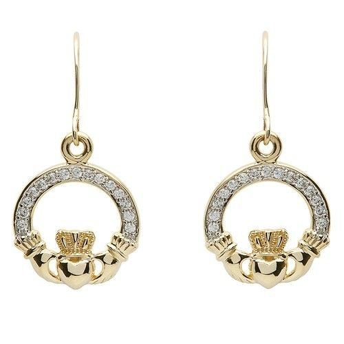 Shanore Earring: 10k CZ Claddagh