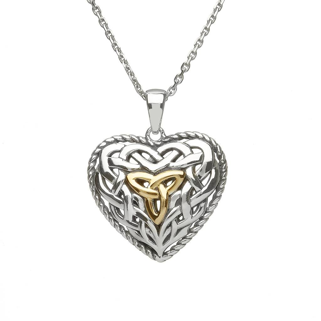 Anu Pendant: SS/Gld 2-Sided Puffy Celtic Heart