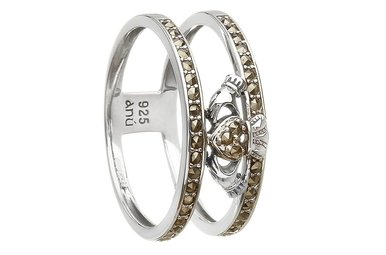 Ring: SS Marcasite Claddagh Cage