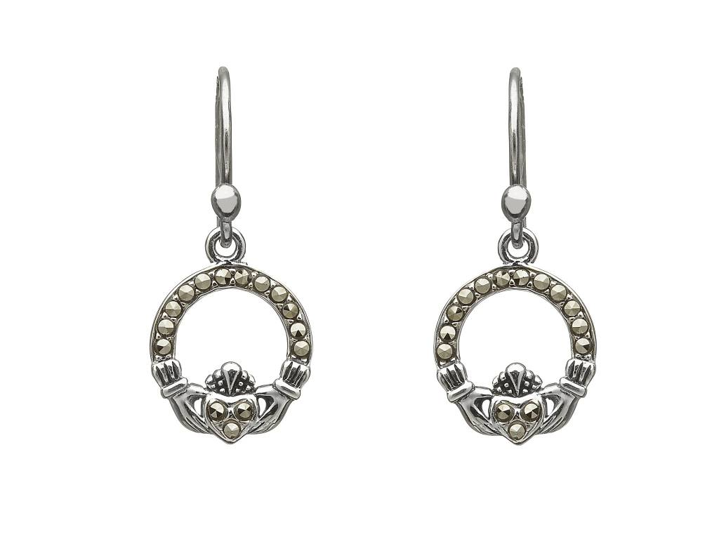 Anu Earrings: SS Marcasite Claddagh Drop