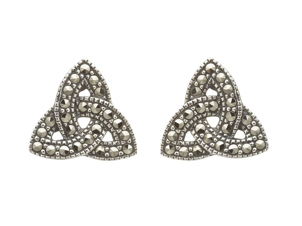 Anu Earrings: SS Marcasite Trinity