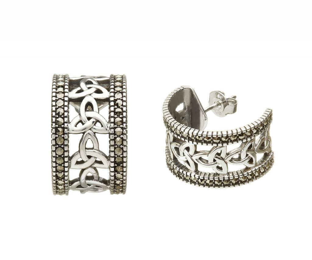 Anu Earring: SS Marcasite Trinity H/Hoop