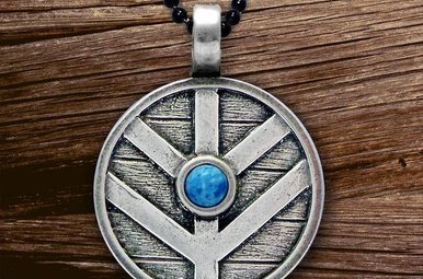 Pendant: Viking Shield w/Denim Lapis