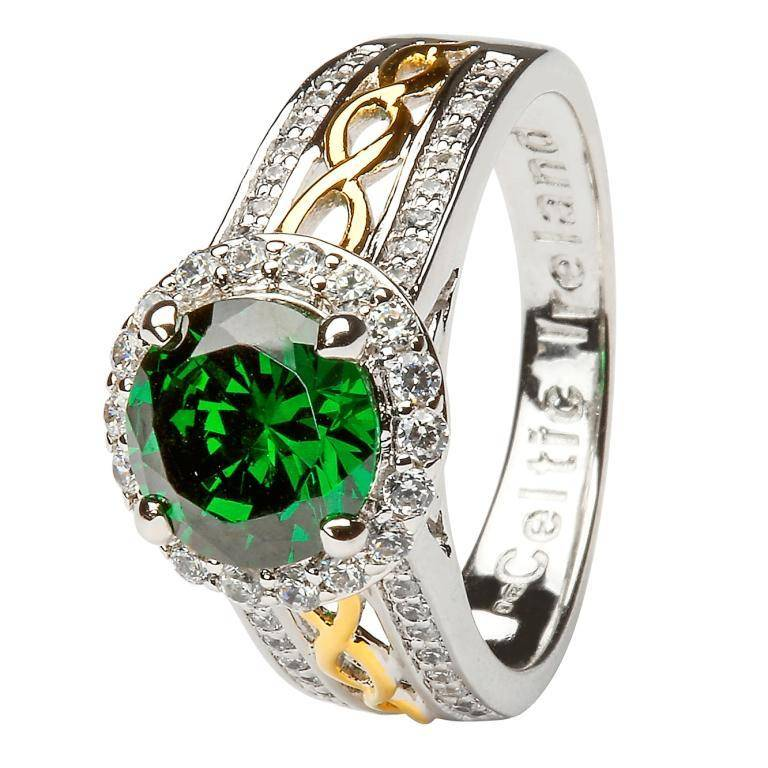 Ring: SS Halo Green CZ