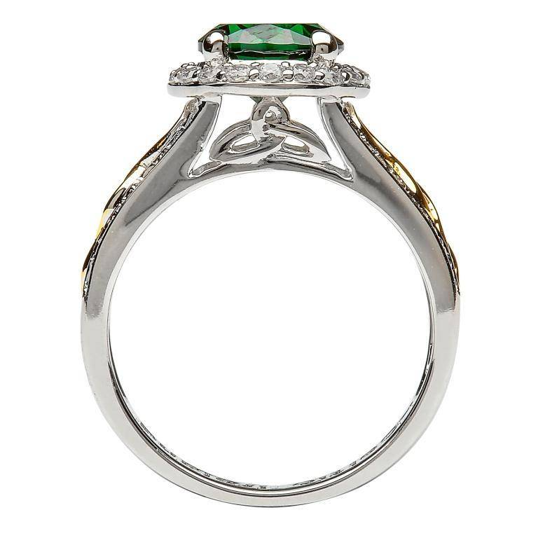 Shanore Ring: SS Halo Green CZ