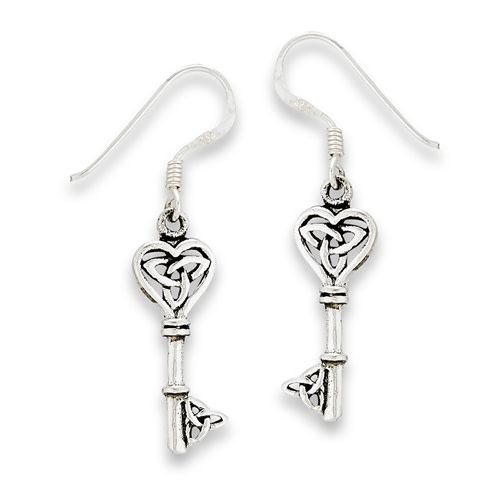 Earring: SS Key w/Triquetras Dangle