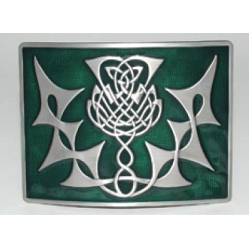 Glen Esk Buckle: Thistle Knot, Green