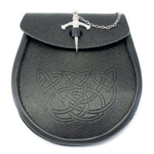 Sporran: Leather w/Kilt Pin Fastener