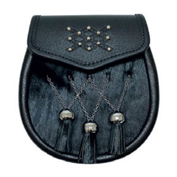 Sporran: Semi Dress, Studded, Black, Dbl Chain