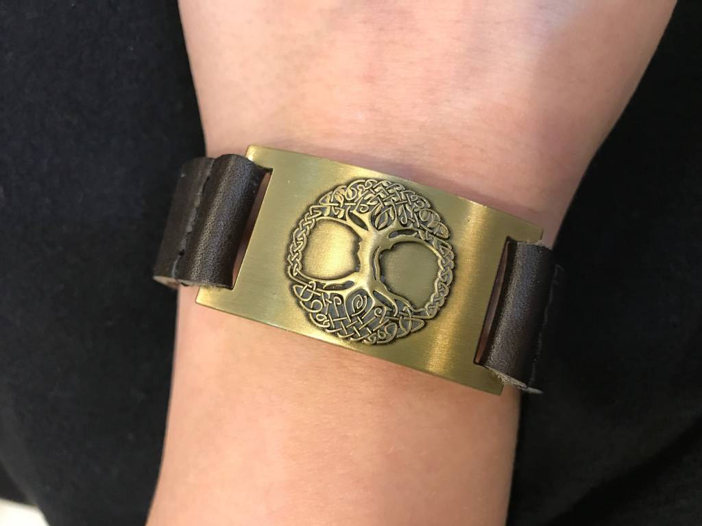Leather Bracelet: Tree of Life, Leather & Zinc Alloy