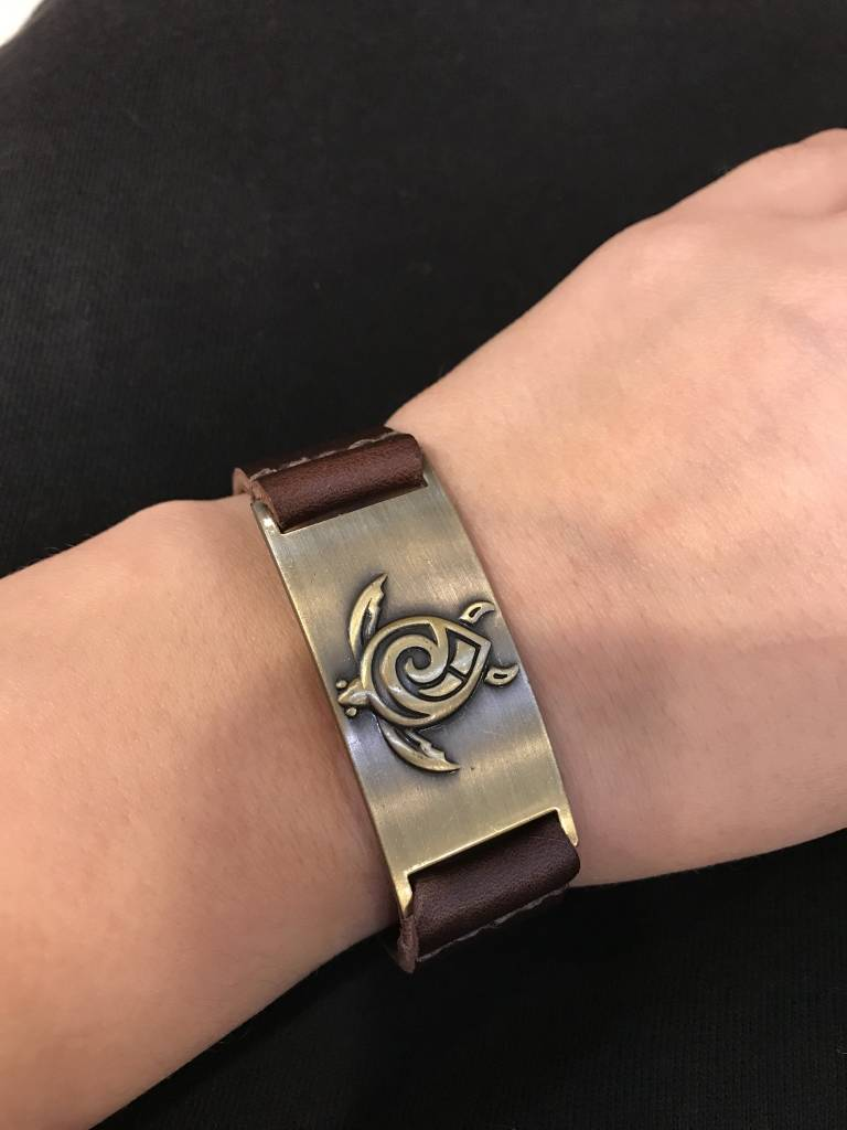 Leather Bracelet: Celtic Turtle, Leather & Zinc Alloy