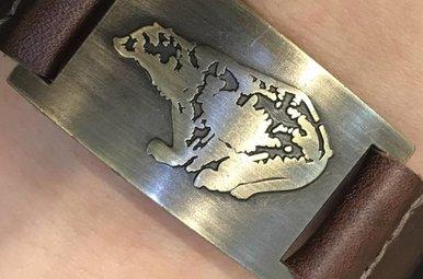 Bracelet: Celtic Bear, Leather & Zinc Alloy