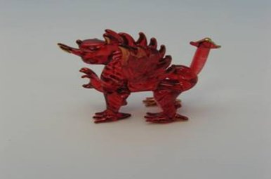 Figurine: Walsh Dragon, Red Glass, Small