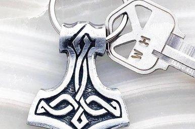 Keychain: Thor's Hammer Pewter
