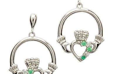 Earrings: Sil Green/CZ Claddagh