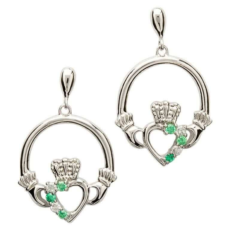 Shanore Earrings: Sil Green/CZ Claddagh