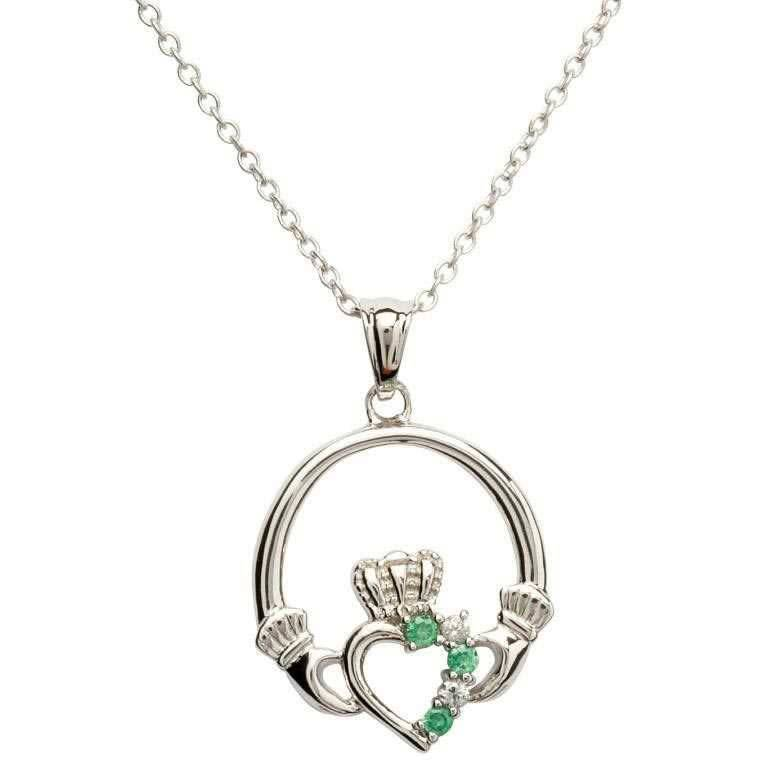 Shanore Pendant: Sil Green/CZ Claddagh