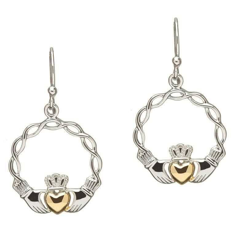 Shanore Earring: Sil G/P Claddagh Earrings
