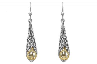 Earring: SS/Gld Celtic Claddagh Drop