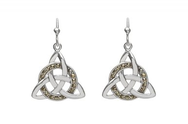 Earring: SS Trinity Knot Drop, Marcasite