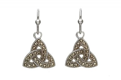 Earring: SS Triquetra Drop, Marcasite