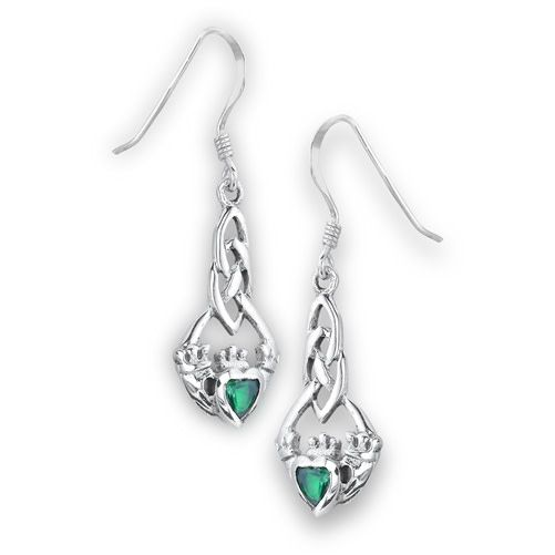 Earrings: SS Claddagh Synth Emerald