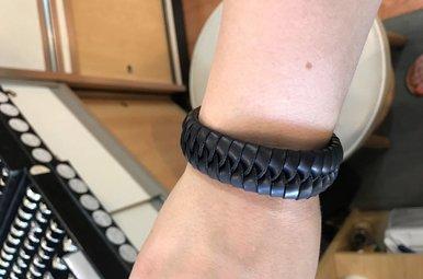 Bracelet: Wide Plait Leather Black