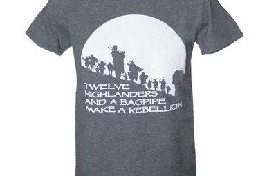 T Shirt: Mens Bagpipe Rebellion