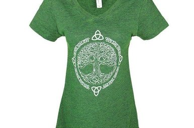 T Shirt: Womens V neck Emerald Tree of Life