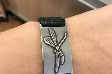 Bracelet: Dragonfly, Leather & Pewter