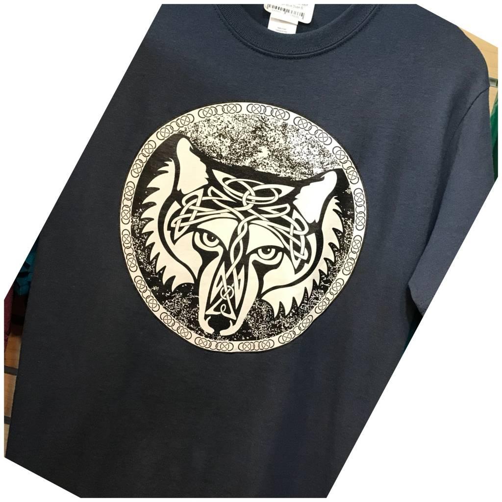 T Shirt: Celtic Wolf on Blue Dusk