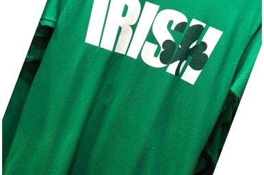 T Shirt: Irish Shamrock over S&H on Grn